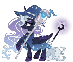 Size: 1900x1632   Tagged: safe, artist:elementbases, artist:gihhbloonde, oc, oc only, alicorn, pony, clothes, female, hat, magical lesbian spawn, mare, offspring, parent:princess luna, parent:trixie, parents:luxie, robe, simple background, smiling, solo, staff, transparent background, witch hat