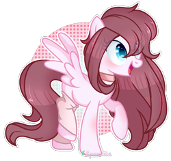 Size: 1222x1154 | Tagged: safe, artist:2pandita, oc, pegasus, pony, abstract background, colored pupils, commission, eye clipping through hair, female, leg warmers, mare, raised hoof, raised leg, simple background, smiling, solo, spread wings, transparent background, watermark, wings