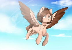 Size: 1280x902 | Tagged: safe, artist:irinamar, oc, oc only, pegasus, pony, chest fluff, cloud, deviantart watermark, flying, jewelry, necklace, obtrusive watermark, pegasus oc, solo, two toned wings, watermark, wings