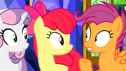 Size: 1362x766 | Tagged: safe, screencap, apple bloom, scootaloo, sweetie belle, earth pony, pegasus, pony, unicorn, growing up is hard to do, cutie mark crusaders, female, looking at each other, older, older apple bloom, older cmc, older scootaloo, older sweetie belle