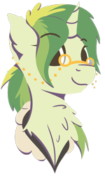 Size: 788x1314   Tagged: safe, artist:rhythmpixel, oc, oc only, oc:rhythm fruit, unicorn, bust, chest fluff, female, lineless, mare, portrait, simple background, solo, spectacles, transparent background