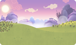Size: 954x572 | Tagged: safe, background, canterlot, cloud, gameloft, mountain, no pony, outdoors, resource, sun, tree