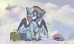 Size: 1080x647 | Tagged: safe, artist:dxggy_tearz, oc, oc only, oc:blue gates, pegasus, pony, cloud, colored hooves, on a cloud, pegasus oc, signature, solo, suitcase, two toned wings, wings