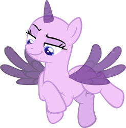 Size: 1200x1221 | Tagged: safe, artist:pegasski, oc, oc only, alicorn, pony, the cutie re-mark, alicorn oc, bald, base, flying, horn, looking down, simple background, smiling, smirk, smug, solo, transparent background, wings