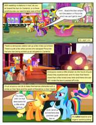 Size: 612x792   Tagged: safe, artist:newbiespud, edit, edited screencap, screencap, applejack, big macintosh, bon bon, granny smith, rainbow dash, spike, sweetie drops, twilight sparkle, dragon, earth pony, pegasus, pony, unicorn, comic:friendship is dragons, background pony, climbing, comic, dialogue, female, freckles, hat, hot air balloon, male, mare, raised hoof, screencap comic, stallion, train, unicorn twilight