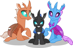 Size: 2668x1738 | Tagged: safe, artist:stellardusk, oc, oc:beebee, changedling, changeling, fanfic:the bug in the basement, changedling oc, changeling oc, cute, cuteling, family, father and child, father and son, female, male, mother and child, mother and father, mother and son, simple background, transparent background