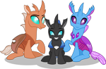 Size: 2668x1738 | Tagged: safe, artist:stellardusk, oc, oc:beebee, changedling, changeling, fanfic:the bug in the basement, changedling oc, changeling oc, cute, cuteling, family, father and child, father and son, female, like father like son, like mother like son, like parent like child, male, mother and child, mother and father, mother and son, simple background, sitting, transparent background, vector