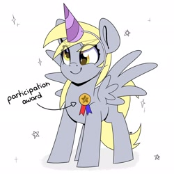 Size: 2048x2048 | Tagged: safe, artist:partylikeanartist, derpy hooves, pegasus, pony, my little pony: the movie, award, cute, derpabetes, hat, high res, participation ribbon, party hat, prize, ribbon, simple background, solo, stars, text, white background