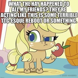 Size: 1080x1080 | Tagged: safe, applejack, earth pony, pony, my little pony: pony life, apple, caption, confused, eating, food, image macro, meta, reboot, reboot series, solo, teen titans go, text