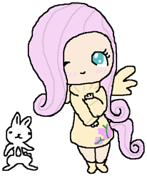 Size: 492x596 | Tagged: safe, artist:dj-crossbones, angel bunny, fluttershy, human, 2011, blushing, chibi, clothes, cutie mark clothes, duo, humanized, one eye closed, simple background, sweater, sweater dress, sweatershy, white background, winged humanization, wings, wink
