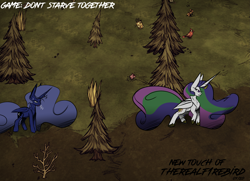 Size: 4137x2996 | Tagged: safe, artist:therealf1rebird, princess celestia, princess luna, alicorn, bird, pony, rabbit, animal, branches, bush, crossover, crown, don't starve together, ears, flower, game, grass, hooves, horn, jewelry, mane, regalia, sweat, wood