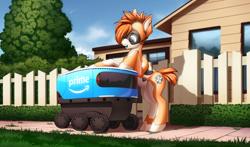 Size: 4000x2346 | Tagged: safe, artist:xn-d, oc, oc only, oc:kiva, pony, robot, robot pony, cute, fence, house, sidewalk