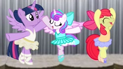 Size: 1920x1080 | Tagged: safe, artist:angrymetal, apple bloom, princess flurry heart, twilight sparkle, alicorn, a royal problem, ballerina, ballerinas, ballet, ballet dancing, ballet slippers, bloomerina, dancing ballet, en pointe, eyes closed, flurryrina, stage, tutu, twilarina, twilight sparkle (alicorn)