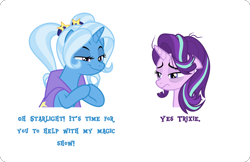 Size: 4000x2596 | Tagged: safe, artist:orin331, derpibooru exclusive, starlight glimmer, trixie, absurd resolution, alternate hairstyle, babysitter trixie, dick flattening, faic, hooves together, meme, messy mane, smug, tired