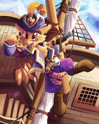 Size: 1920x2383 | Tagged: safe, artist:saxopi, oc, oc only, pegasus, pony, clothes, ship, solo