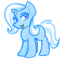 Size: 790x744 | Tagged: safe, artist:zutcha, trixie, pony, unicorn, sketch, smiling, solo