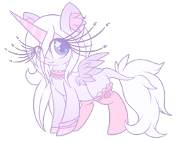 Size: 2484x1989 | Tagged: safe, artist:starlightlore, oc, oc:sugar star crystal, alicorn, pony, alicorn oc, choker, clothes, female, horn, mare, simple background, socks, solo, transparent background, wings
