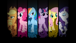 Size: 1920x1080 | Tagged: artist needed, source needed, safe, artist:the smiling pony, edit, applejack, fluttershy, pinkie pie, rainbow dash, rarity, twilight sparkle, earth pony, pegasus, pony, unicorn, applejack's hat, black background, cowboy hat, dark background, eyes closed, eyeshadow, female, freckles, grin, hairband, hat, horn, lidded eyes, looking at you, looking back, makeup, mane, mane six, mare, one hoof raised, open mouth, ponytail, raised eyebrow, raised hoof, simple background, smiling, standing, unicorn twilight, vector, wallpaper, wallpaper edit, watermark, windswept mane, wings