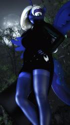 Size: 1080x1920 | Tagged: safe, artist:artempredator, princess luna, anthro, 3d, alternate hairstyle, clothes, dress, female, solo, source filmmaker