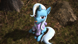 Size: 3840x2160 | Tagged: safe, artist:psfmer, trixie, pony, unicorn, 3d, babysitter trixie, clothes, female, gem, grass, ground, hoodie, lifted hoof, looking at you, looking up at you, mare, raspberry, rock, sitting, solo, source filmmaker, tongue out, tree