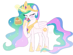 Size: 2048x1536 | Tagged: safe, artist:colorcodetheartist, princess celestia, alicorn, blushing, cake, cakelestia, cute, cutelestia, food, messy eating, watermark