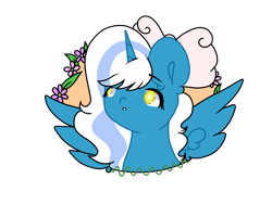 Size: 1280x960 | Tagged: safe, artist:xitzakiiix, oc, oc:fleurbelle, alicorn, alicorn oc, bow, chibi, cute, female, flower, hair bow, horn, mare, simple background, transparent background, wingding eyes, wings, yellow eyes