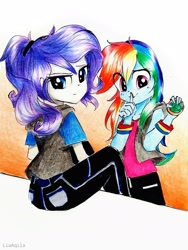 Size: 2322x3096 | Tagged: safe, artist:liaaqila, rainbow dash, rarity, equestria girls, commission, duo