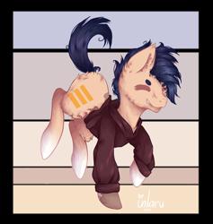 Size: 1024x1081 | Tagged: safe, artist:inlaru, oc, oc only, oc:minno, earth pony, pony, chibi, earth pony oc, oc solo, prize, simple, simple background, solo