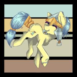 Size: 1280x1280 | Tagged: safe, artist:inlaru, oc, oc only, oc:flower skies, oc:helmie, earth pony, pony, chibi, earth pony oc, oc solo, prize, simple, simple background, solo