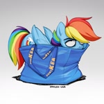 Size: 1280x1280 | Tagged: safe, artist:zazush-una, rainbow dash, pegasus, pony, backwards cutie mark, behaving like a cat, explicit source, female, folded wings, if i fits i sits, ikea, mare, pony in a bag, ponykea, shopping bags, solo, unamused, wings