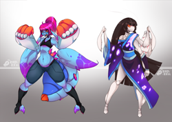 Size: 1280x905 | Tagged: safe, alternate version, artist:tea-redrex, oc, oc only, oc:cteno, anthro, clothes, colored, duo, female, mantis