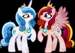 Size: 800x566 | Tagged: safe, artist:tambelon, crystal pony, pegasus, pony, unicorn, crystallized, simple background, smiling, transparent background