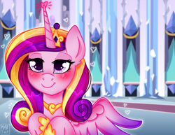 Size: 1295x1000 | Tagged: safe, artist:meqiopeach, princess cadance, alicorn, crystal pony, pony, big eyes, crystal empire, digital art, drawing, fanart, female, frienship, full background, heart, hoof shoes, horn, jewelry, love, magic, my little pony, necklace, pink, princess, purple, raised hoof, smine, solo, wings