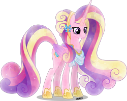 Size: 4000x3199 | Tagged: safe, artist:orin331, princess cadance, alicorn, crystal pony, pony, alternate hairstyle, crystallized, cutie mark, female, horn, jewelry, long horn, mare, older, older princess cadance, regalia, simple background, solo, transparent background, ultimate cadance