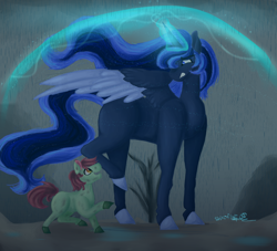 Size: 2200x2000 | Tagged: safe, artist:shirofluff, alicorn, pony, fallout equestria, artificial alicorn, blue, blue alicorn (fo:e), child, colt, cute, digital art, digital painting, fallout, fallout alicorns, finished, foe, goddess, green, male, orphan, puddle, rain, red, shield, the goddess, unity, wasteland