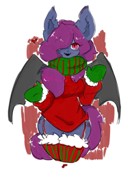 Size: 1128x1461 | Tagged: safe, artist:snow angel, oc, oc only, oc:ica, anthro, bat pony, abstract background, bat pony oc, bat wings, clothes, female, hair over one eye, mittens, scarf, spread wings, stockings, thigh highs, wings