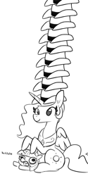 Size: 1080x2160 | Tagged: safe, artist:tjpones, edit, princess celestia, twilight sparkle, alicorn, pony, unicorn, black and white, cowboy hat, duo, female, filly, grayscale, hat, impossibly many hats, mare, monochrome, ponies riding ponies, riding, role reversal, simple background, twiggie, weh, white background, yeehaw
