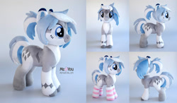 Size: 2000x1167 | Tagged: safe, artist:meplushyou, oc, oc:lynxie, earth pony, original species, plush pony, clothes, earth pony oc, plushie, socks
