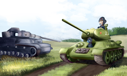 Size: 2500x1500   Tagged: safe, artist:bacbko, oc, oc only, pony, equestria at war mod, clothes, field, hearts of iron 4, helmet, panzer iv, t-34, tank (vehicle), uniform, world war ii