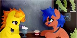 Size: 1267x631 | Tagged: safe, artist:mshyyy, oc, oc only, oc:griffin, oc:oilyvalves, pegasus, unicorn, cafe, hot drink, milkshake, table