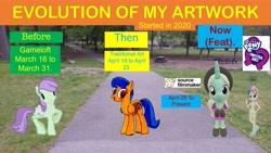 Size: 5952x3348   Tagged: safe, artist:topsangtheman, cornetta, sky sweeper, violet twirl, pegasus, pony, unicorn, equestria girls, 3d, clothes, evolution, friendship student, gameloft, hat, looking at you, park, source filmmaker, traditional art, uniform
