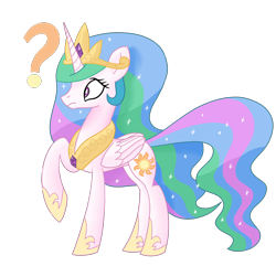 Size: 1864x1800 | Tagged: safe, artist:notadeliciouspotato, princess celestia, alicorn, pony, confused, female, folded wings, frown, hoof shoes, jewelry, mare, peytral, question mark, regalia, simple background, solo, transparent background, wide eyes, wings