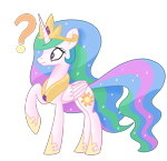 Size: 1864x1800 | Tagged: safe, artist:notadeliciouspotato, princess celestia, alicorn, pony, confused, crown, female, folded wings, frown, hoof shoes, jewelry, mare, peytral, question mark, raised hoof, regalia, simple background, solo, transparent background, wide eyes, wings