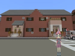 Size: 2048x1536 | Tagged: safe, artist:topsangtheman, moondancer, equestria girls, 3d, bus, house, looking at you, minecraft, photoshopped into minecraft