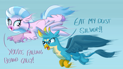 Size: 1920x1080 | Tagged: safe, artist:sintakhra, gallus, silverstream, classical hippogriff, griffon, hippogriff, tumblr:studentsix, chest fluff, cute, duo, female, flying, male, racing, simple background, stair keychain, wings