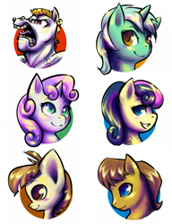 Size: 769x1000 | Tagged: safe, artist:tentabuddies-n-co, bon bon, bulk biceps, caramel, featherweight, lyra heartstrings, sweetie belle, sweetie drops, pony, background pony, bust, colored pupils, colt, female, filly, male, mare, open mouth, portrait, profile, simple background, stallion, white background