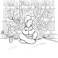 Size: 4000x4000 | Tagged: safe, artist:captainhoers, oc, oc:cutting chipset, pegasus, pony, cable, clothes, cyberpunk, energy drink, jacket, male, meditating, monochrome, server, sierra nevada, sitting, sketch, solo