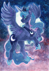 Size: 650x926 | Tagged: safe, artist:nekophoenix, princess luna, alicorn, pony, copic, female, full moon, lidded eyes, mare, moon, night, signature, sky, smiling, solo, spread wings, traditional art, watercolor painting, wings