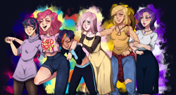 Size: 4104x2240 | Tagged: safe, artist:nessieusagi, applejack, fluttershy, pinkie pie, rainbow dash, rarity, twilight sparkle, human, abstract background, applejack's hat, applejacked, clothes, cowboy hat, dress, female, group shot, hat, humanized, jeans, jewelry, laughing, mane six, midriff, muscles, necklace, paint tool sai, pants, shirt, signature, smiling, sweater, sweater dress, t-shirt, tanktop, track pants