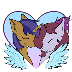Size: 2000x2000 | Tagged: safe, artist:meaxtonly, oc, oc only, oc:jade jump, oc:lunar spice, bat pony, unicorn, fallout equestria, bat pony oc, bat wings, commission, eyes closed, female, foe adventures, lunump, male, romantic, shipping, simple background, straight, transparent background, wings, ych result
